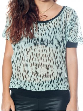S.OLIVER Ημιδιάφανο animal print μπλουζάκι