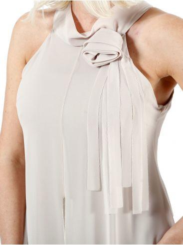 BRAVO Μάξι φόρεμα μουσελίνα με φιόγκο