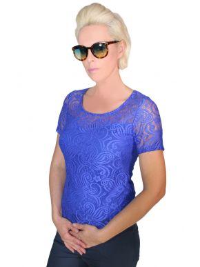 BRAVO Βραδινή μπλε ρουά δαντελωτή μπλούζα