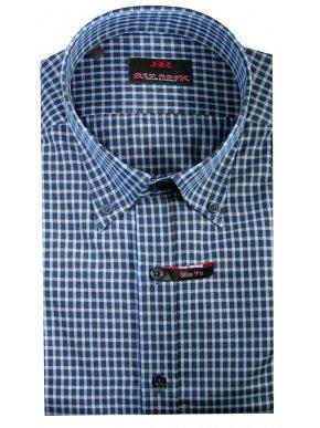 RED ROCK Ψιλό καρό πουκάμισο, άνετη γραμμή, μπλέ-γαλάζιο