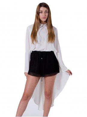 ZINO JORDAN Γυναικεία κρεμ ασύμμετρη πουκαμίσα, γιακά