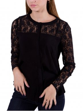 FRANSA Γυναικείο μαύρο δαντελωτό πουκάμισο, κλείσιμο με κουμπιά