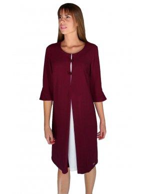 BRAVO Μακρυμάνικο μπορντό φόρεμα, άνετη γραμμή, διαφορετικό ύφασμα εσωτερικό μέρος