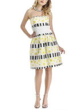 BRAVO Στράπλες πουά midi φόρεμα, σφηκοφωλιά