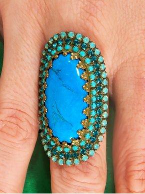 FRANGOS Χειροποίητο δαχτυλίδι με Swarovski