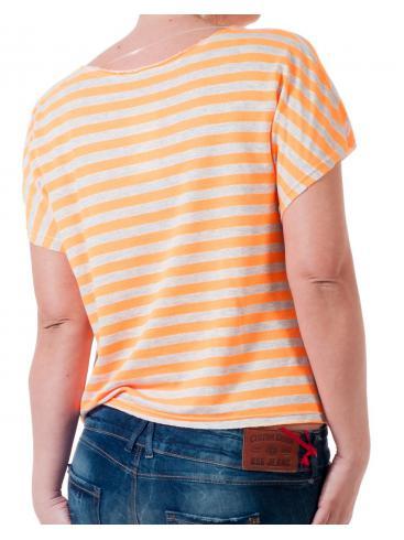 Κοντομάνικο κοντό ριγέ πορτοκαλί μπλουζάκι