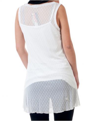 Αμάνικο τουνίκ ημιδιαφανές μπλουζοφόρεμα