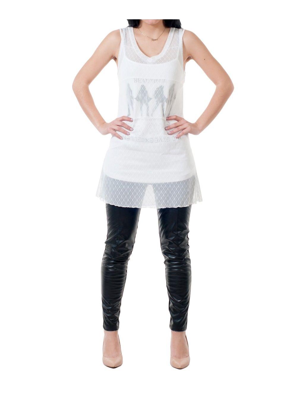 67b1e7c480fc Αμάνικο τουνίκ ημιδιαφανές μπλουζοφόρεμα - TOPTENFASHION.gr