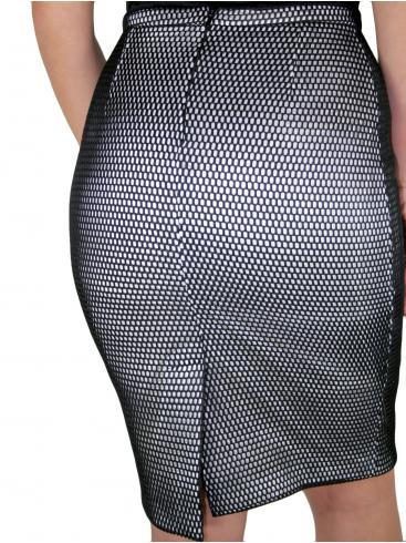 ZINO JORDAN Ασπρόμαυρη φούστα, διάτρητο ύφασμα