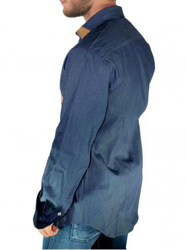 STEFAN Μακρύ τζιν slim fit ελαστικό fashion πουκάμισο