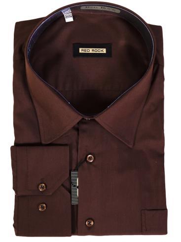 RED ROCK Καφέ πουκάμισο, άνετη γραμμή