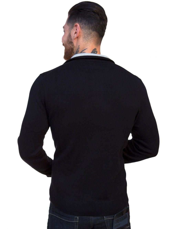NAUTICA Ανδρικό πλεκτό μαύρο πουλόβερ - TOPTENFASHION.gr 7dd5489c909