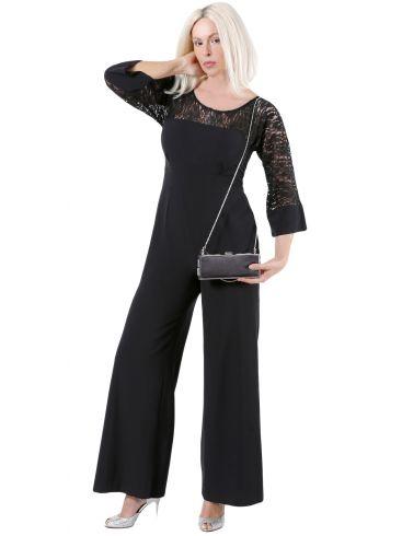 ZINO JORDAN Μάξι ολόσωμη φόρμα παντελόνι, δαντελωτό μανίκι