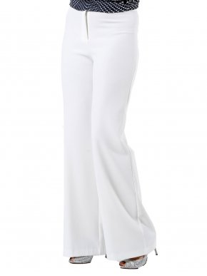 VENER Ελαστική ψηλόμεση εκρού κρεπ παντελόνα
