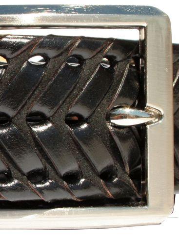 Ανδρική Ιταλική πλεκτή δερμάτινη ζώνη, μαύρο χρώμα