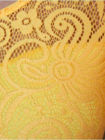 BRAVO Βραδινή κίτρινη δαντελωτή μπλούζα