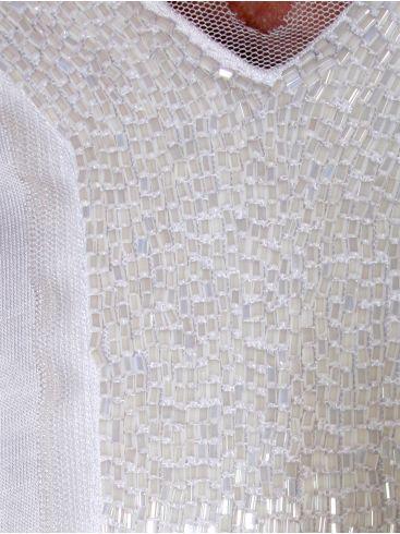 PERSONA Αμπίρ λευκή μπλουζάκι, διακοσμητικά στο στήθος