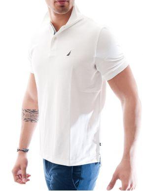 NAUTICA Ανδρικό λευκό κοντομάνικο polo μπλουζάκι