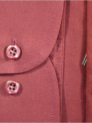 RED ROCK Μακρυμάνικο μπορντό γραβατοπουκάμισο
