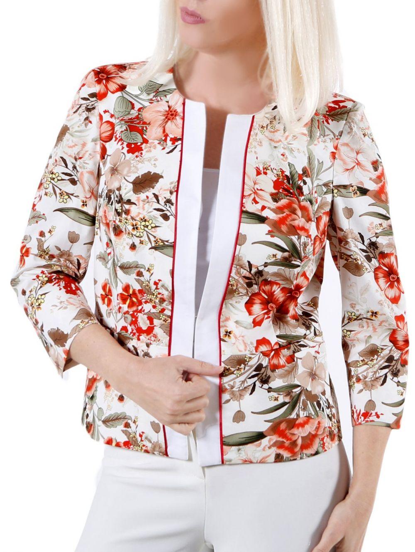 BRAVO Ελαστικό εμπριμέ σακάκι με τριαντάφυλλα - TOPTENFASHION.gr dd8abda4642