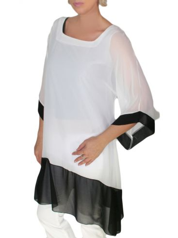RAXSTA Βραδινή ασπρόμαυρη πουκαμίσα, ζορζέτα