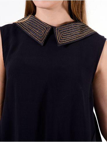 ZINO JORDAN Γυναικεία μαύρη ασύμμετρη μακριά πουκαμίσα, κεντημένος γιακάς