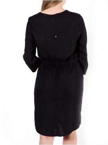 FRANSA Μαύρο μίντι μακρυμάνικο φόρεμα, κλείσιμο με κουμπιά, σούρα
