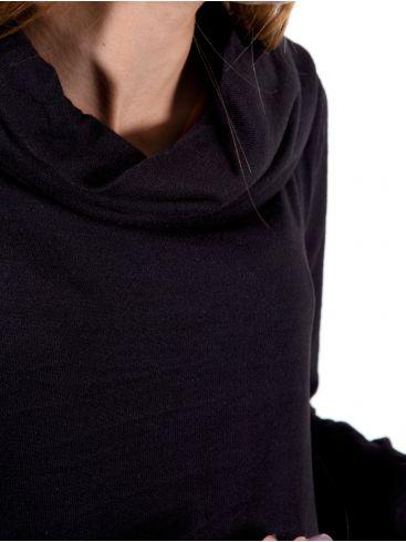 FRANSA Γυναικείο μαύρο πλεκτό μίντι φόρεμα, ντραπέ λαιμό