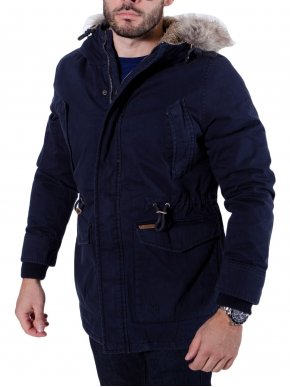 More about BASEHIT Ανδρικό μακρύ cotton μπουφάν παρκά μπλέ navy M1679C CT Navy