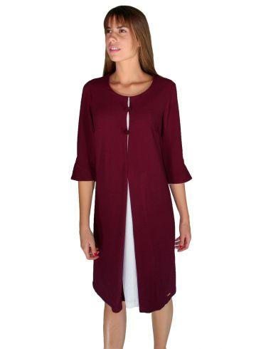 BRAVO,Μακρυμάνικο μπορντό φόρεμα, άνετη γραμμή, διαφορετικό ύφασμα εσωτερικό μέρος