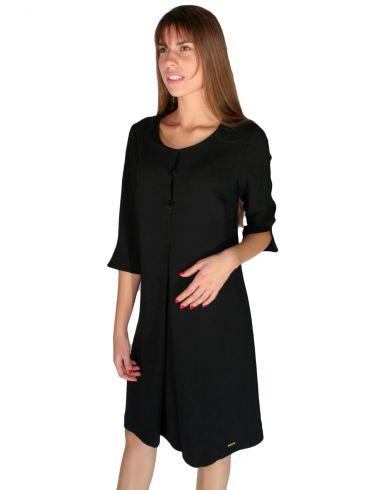 BRAVO,Μακρυμάνικο μαύρο φόρεμα, άνετη γραμμή