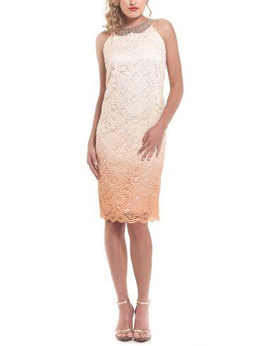 BRAVO Αμάνικο δαντελωτό midi φόρεμα, κεντημένες χάντρες, ροδακινί