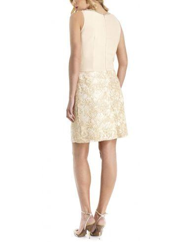 BRAVO Αμάνικο αμπιγέ δαντελωτό φόρεμα, στράς, κρουαζέ ζορζέτα, μπέζ
