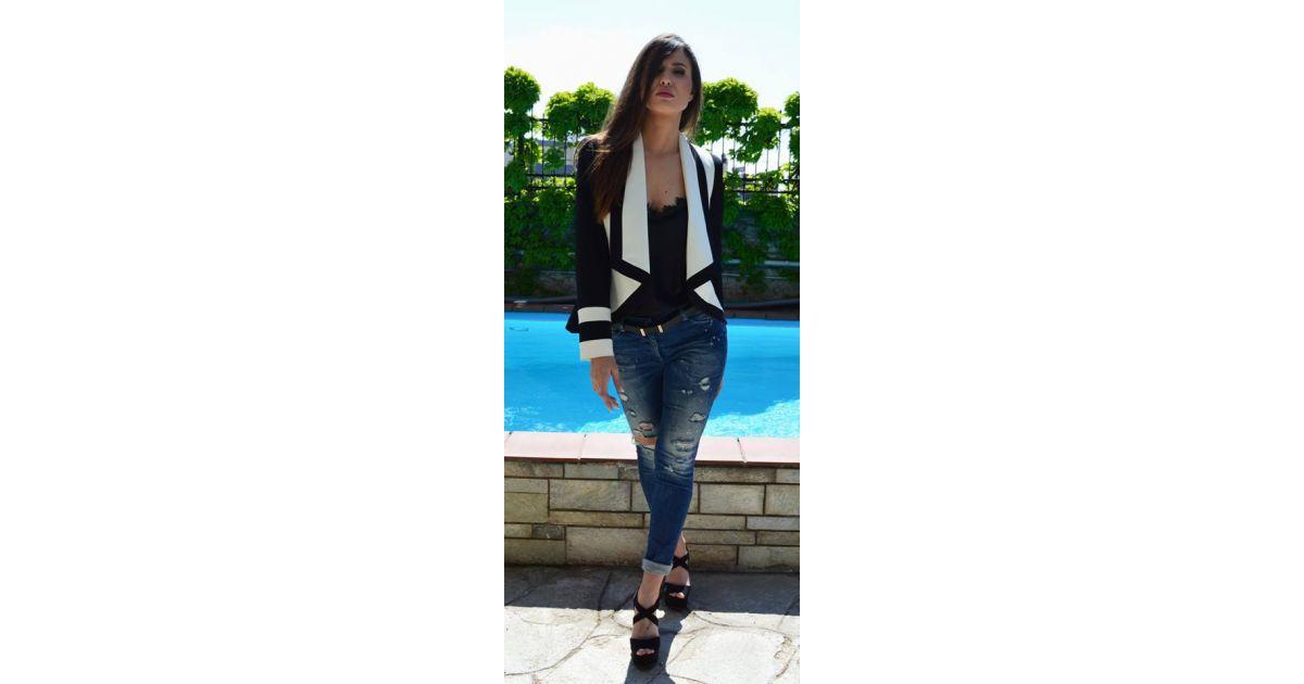 ZINO JORDAN Γυναικείο κοντό ασπρόμαυρο σακάκι - TOPTENFASHION.gr b6005ac94d5