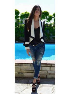 ZINO JORDAN Γυναικείο κοντό ασπρόμαυρο σακάκι