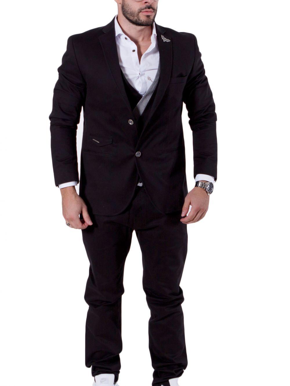 c4b0ce89664d STEFAN Ανδρικό μαύρο slim μεσάτο σακάκι, διακοσμητικό μαντήλι ...