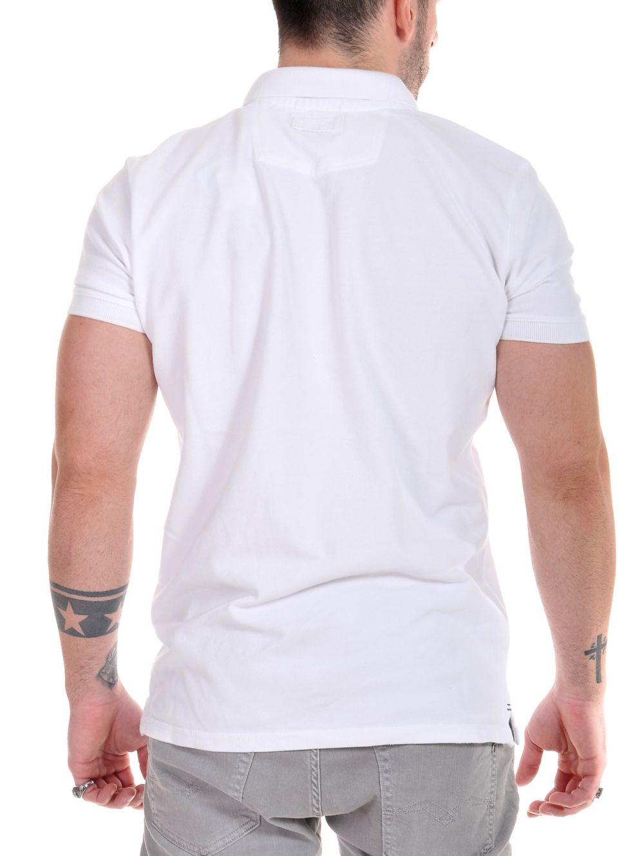 c5cd1d10d0df FUNKY BUDDHA Ανδρικό λευκό κοντομάνικο πικέ πόλο μπλουζάκι ...