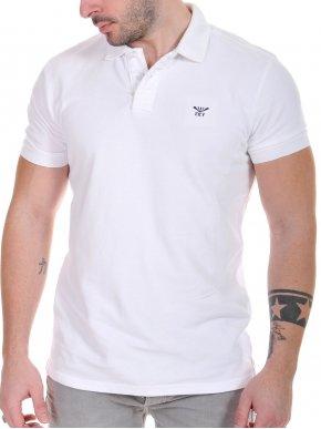 FUNKY BUDDHA Ανδρικό λευκό πικέ πόλο μπλουζάκι FBM001-11118 White