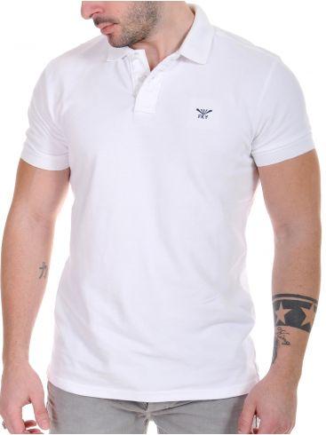 FUNKY BUDDHA Ανδρικό λευκό κοντομάνικο πικέ πόλο μπλουζάκι