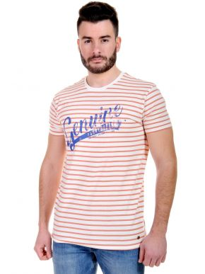 FUNKY BUDDHA ριγέ T-Shirt πορτοκαλί, FBM047-04118-Off White/Peach