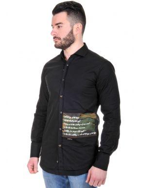 STEFAN Ανδρικό Italian μακρυμάνικο slim fit πουκάμισο, στάμπα προς πίσω