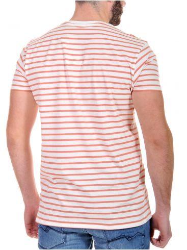 FUNKY BUDDHA Ανδρικό ριγέ κοντομάνικο T-Shirt μπλουζάκι, πορτοκαλί-λευκό