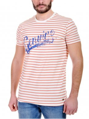 More about FUNKY BUDDHA ριγέ T-Shirt πορτοκαλί, FBM047-04118-Off White/Peach