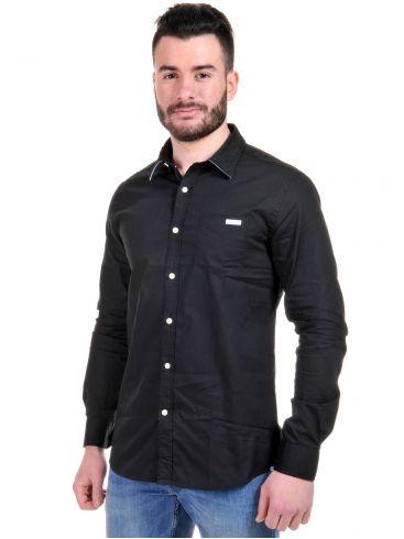 FUNKY BUDDHA Ανδρικό μαύρο πουκάμισο, τσεπάκι, ρίγα γιακά