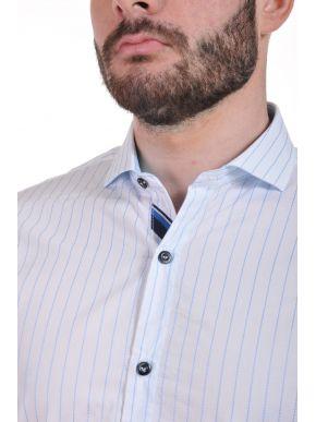 STEFAN Ανδρικό slim fit πουκάμισο, μεταλλικό λογότυπο, Ιταλικός σχεδιασμός