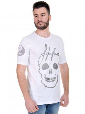 STEFAN T-Shirt μπλουζάκι, μεταλλικές λεπτομέρειες στο μανίκι, ασημί στάμπα