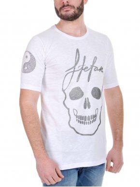 More about STEFAN T-Shirt μπλουζάκι, μεταλλικές λεπτομέρειες στο μανίκι, ασημί στάμπα