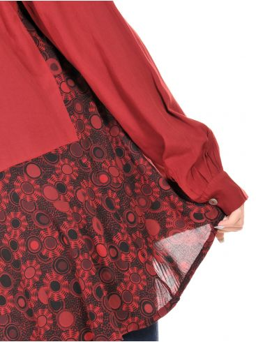ATTRATTIVO Γυναικεία αέρινη μπορντό πουκαμίσα