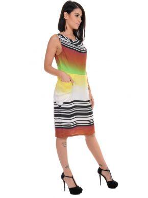SARAH LAWRENCE Αμάνικο πολύχρωμο ντραπέ φόρεμα