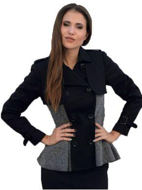 ZINO JORDAN Γυναικείο Ιταλικό σταυρωτό κοντό μαύρο καπαρντινάκι
